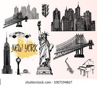 Set of hand drawn sketch style New York themed isolated objects. Vector illustration.