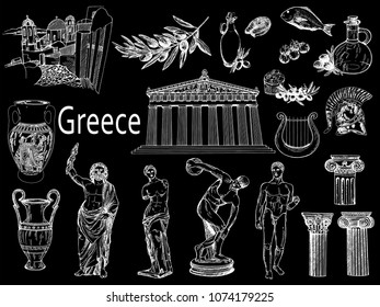 Set of hand drawn sketch style Greek themed objects isolated on black background. Vector illustration.