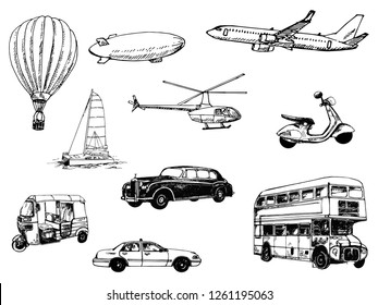 Set of hand drawn sketch style different types of transport isolated on white background. Vector illustration.