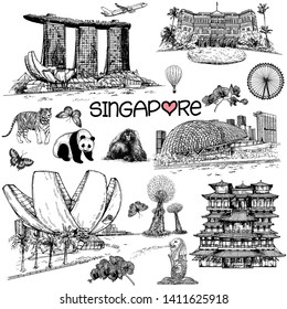 Set of hand drawn sketch style Singapore related objects isolated on white background. Vector illustration.