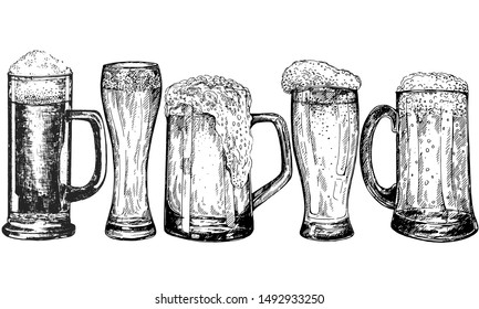 Set of hand drawn sketch style beer mugs isolated on white background. Vector illustration.