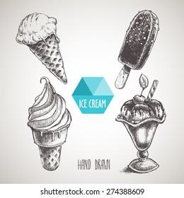 Set of hand drawn sketch style ice cream. Ice cream cone an chocolate ice cream