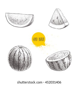 Set of hand drawn sketch style watermelons and watermelon slices. Vintage design fruits. Eco summer food illustrations isolated on white background.