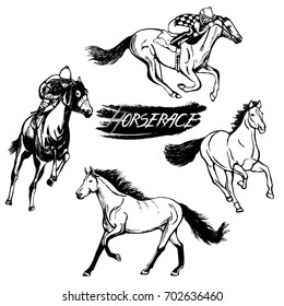 Set of hand drawn sketch style horses and jockeys on horses. Vector illustration isolated on white background.