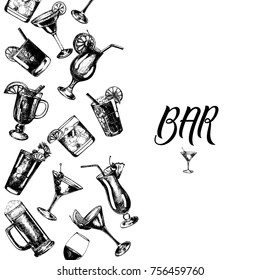 Set of hand drawn sketch style alcoholic drinks. Vector illustration isolated on white background.