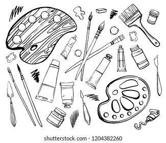 Set of hand drawn sketch vector artist materials. Black and white stylized illustration with paint tools. Brushes, tubes of paint, palette and knives isolated on white background