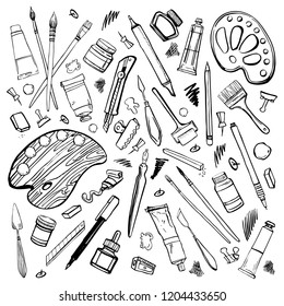 Set of hand drawn sketch vector artist materials. Black and white stylized illustration with painting and drawing tools. Brushes, tubes, palettes, pen and pencils isolated on white background