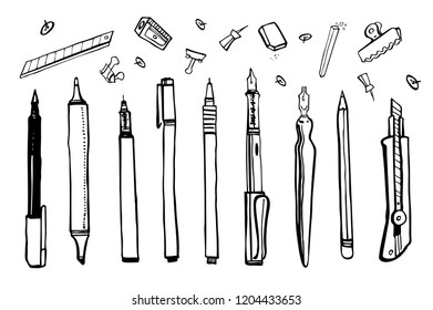 Set of hand drawn sketch vector artist materials. Black and white stylized illustration with drawing tools. Pens, pencils, markers, liners and knife isolated on white background