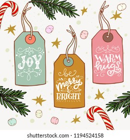 Set of hand drawn sketched Christmas gift tags with hand lettering. Holiday phrases drawn with hands on paper with organic texture. Xmas vector illustration.