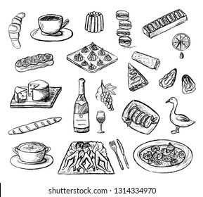 Set of hand drawn sketched French cuisine icons. Doodle charcoal food of France (escargot, frog legs, dessert, champagne, etc). Black and white vector illustration