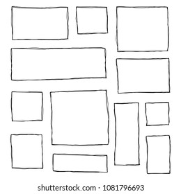Set of hand drawn sketched square frames isolated on white background.