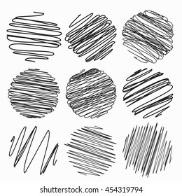 Set of hand drawn. Sketched style. Vector set of scribble circles.