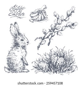 Set of hand drawn sketches of easter rabbit, colored eggs in grass and pussy-willow twigs. Vector vintage line art illustration on texture paper. Happy easter lettering.