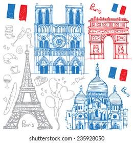 Set of hand drawn sketches of the famous sights of Paris, France - Eiffel Tower, Basilique du Sacre Coeur, Notre-Dame de Paris, Arc de Triomphe. Vector illustration isolated on white background