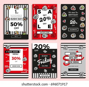 Set of hand drawn sketches posters, banner for cafe, restaurant in modern hipster style. Business offers for social media, email and newsletter designs, ads. Vector illustration EPS 10.
