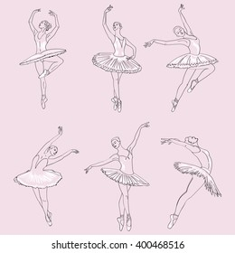Set of hand drawn sketches  young ballerinas standing in a pose. Ballerinas collection.