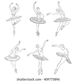 Set of hand drawn sketches young ballerinas standing in a pose.