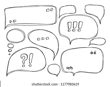 Set of Hand Drawn Sketchy Speech Bubbles Isolated on White Baclground. Handdrawn Artistic Vector Text Balloon Collection or Doodle Sketch Message Box Elements for Business, Web Design, Graphic