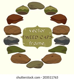 Set of hand drawn sketchy tweed caps. Fashionable cartoon hats on light background with banner for the text in the center of round frame.