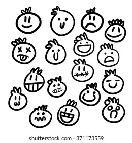 set of hand drawn smiles. vector illustration