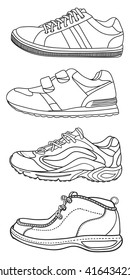 Set of Hand drawn sneakers, gym shoes. Side view. Doodle vector illustration.