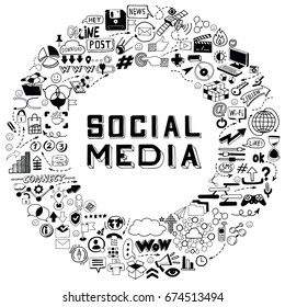 Set of Hand Drawn Social Media Objects, Signs and Symbols Doodles Elements. Black and White illustration.