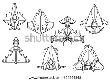 Set Hand Drawn Spacecraft Spaceship Designs Stock Vector Royalty