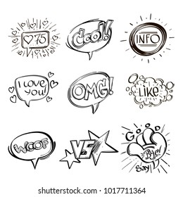 Set of hand drawn speech bubbles with inscriptions. Vector illustration isolated on white background.