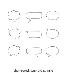 Set of hand drawn speech bubbles doodle style vector design template