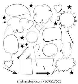set of hand drawn speech bubbles and arrows isolated on white