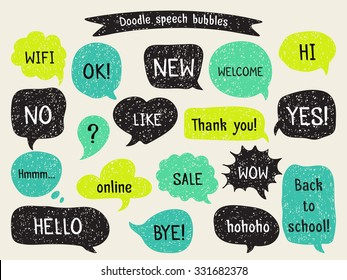 Set of hand drawn speech and thought bubbles. Doodle design with short messages.