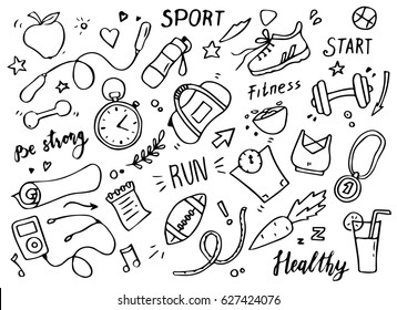 Set of hand drawn sport doodle with ball, bottle, medal, food, diet, fitness and gym elements. Cartoon sketch style. Vector illustration for healthy and activity life design concept.