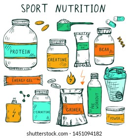 Set of hand drawn sport nutrition items: bottles, jars, shaker and other