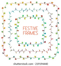 Set of hand drawn square frames. Festive lights. There is place for your text in the center.