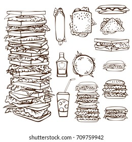 Set of hand drawn stacks of burgers and toasts, separate images of ketchup bottle, soda drink with straw, hot dogs (side and front view), triangle toasts, full square toasts. Vector illustration