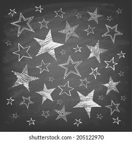 Set of hand drawn stars on chalkboard background. Vector illustration.