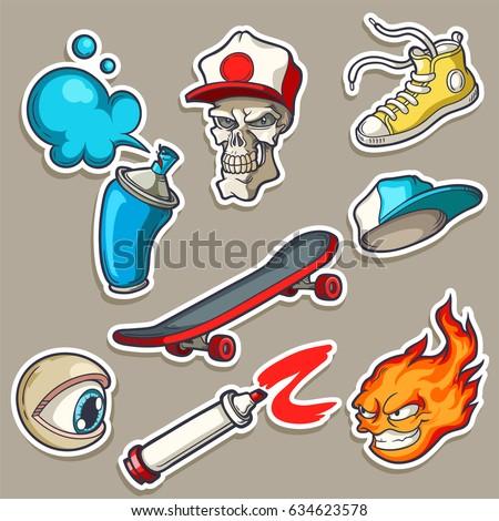 4d0cff08ec9 Set of hand drawn stickers in cartoon 80s-90s comics style. Vector  illustrations of skull in cap