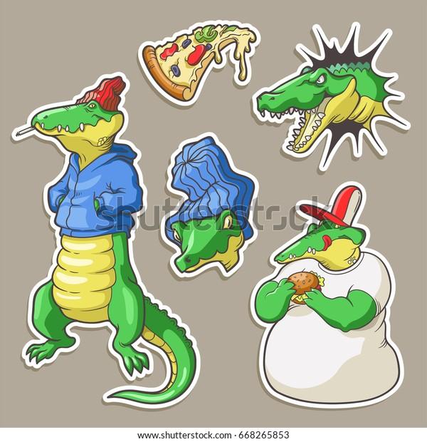Set Hand Drawn Stickers Cartoon 80s90s Stock Vector (Royalty