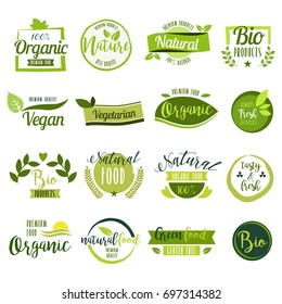 Set of hand drawn stickers, icons and logos for organic food, healthy and natural products. Elements collection for food market labels, ecommerce, organic products promotion, premium quality food.