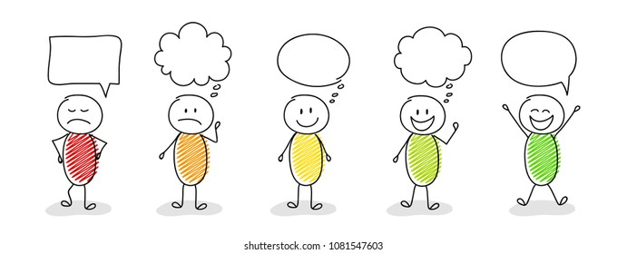 Set of hand drawn stickmen with speech bubbles. Vector.