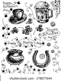 Set of hand - drawn St.Patrick day related objects - clovers, hat, beer, pot full of gold, horseshoe