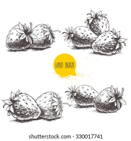 Set of hand drawn strawberries isolated on white background. Retro sketch style vector eco food illustration