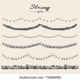 Set of hand drawn string lights and garlands, design elements, vector illustration