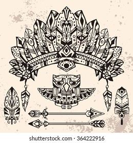 Set of hand drawn style illustrations: warrior bonnet, totem owl, arrows and feathers. Good for use in boho and tribal design projects.