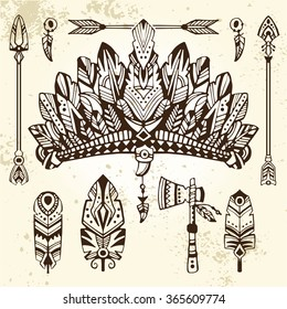 Set of hand drawn style illustrations: warrior bonnet, totem ax, arrows and feathers. Good for use in boho and tribal design projects.