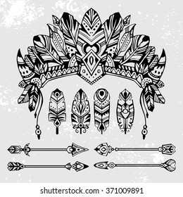 Set of hand drawn style vector illustrations: warrior bonnet, totem arrows and feathers. Good for use in boho and tribal design projects or for flash tattoo design