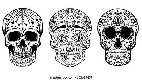 Set of hand drawn sugar skulls isolated on white background. Day of the dead. Dia de los Muertos. Design elements for poster, t-shirt. Vector illustration