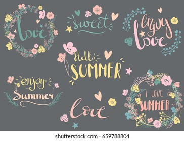 Set of hand drawn summer theme phrases. Vector lettering with rustic decorative elements
