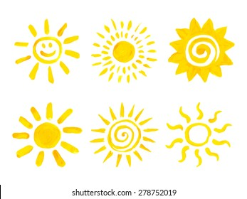 Set of hand drawn sun icons. Vector illustration.