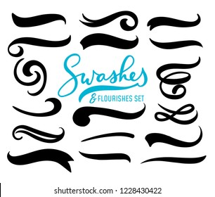 Set of hand drawn swashes and flourishes isolated on white background. Vector illustration